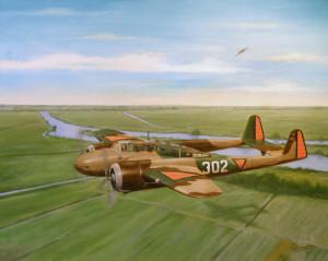 Fokker G-I. Oefenvlucht boven de Lek.