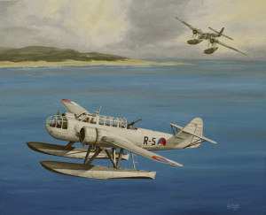 Fokker T8-W. De aanval van de R-5 door een Heinkel 115 in september 1939.